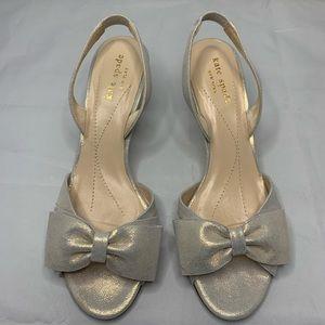 Kate Spade Gold Slingback Kitten Bow Heels 7.5
